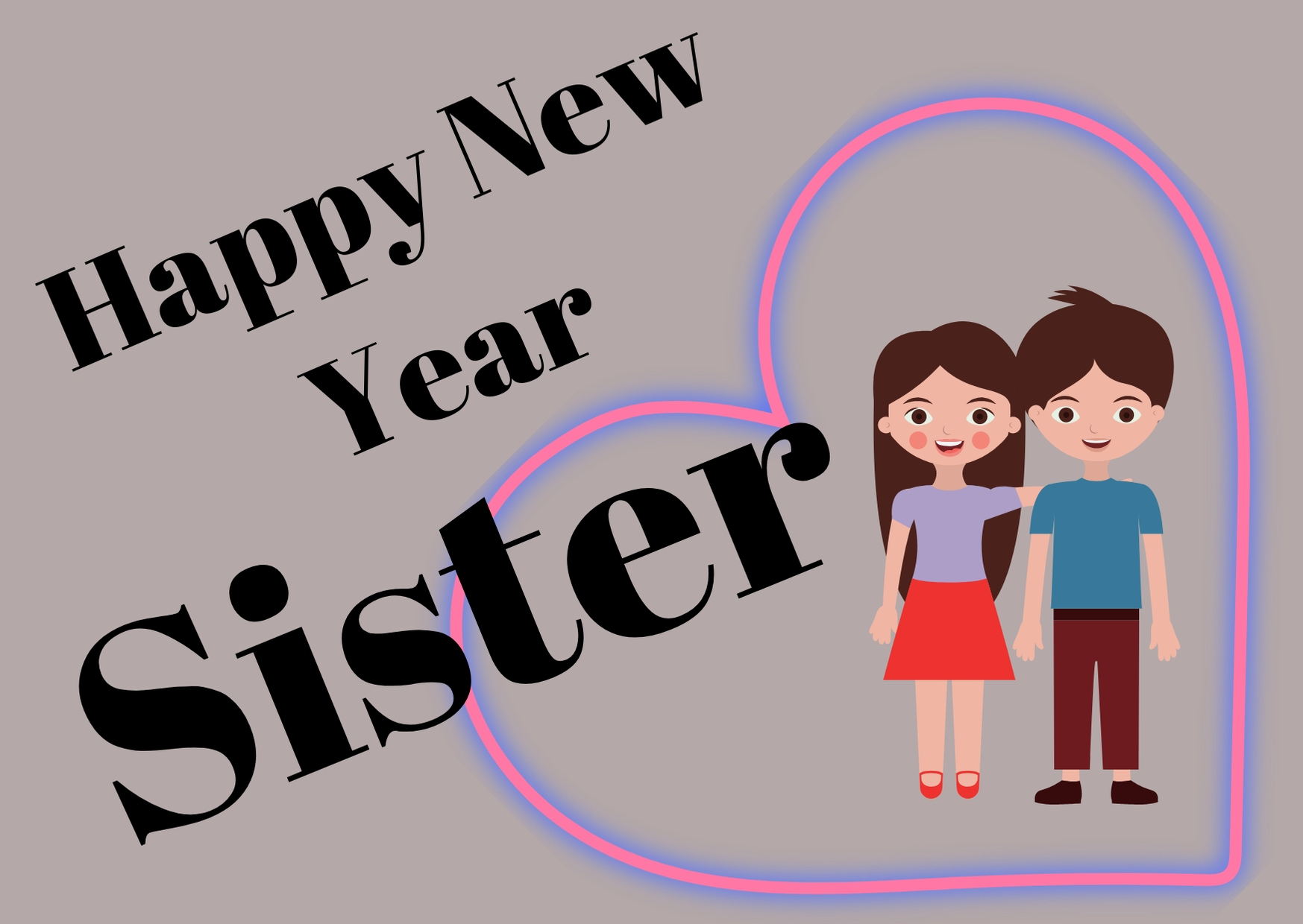 Happy New Year 2020 wishes for Sister